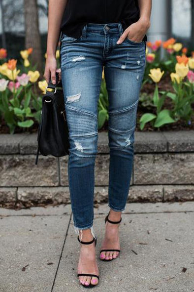 Pleated Stretch Pencil Feet Jeans
