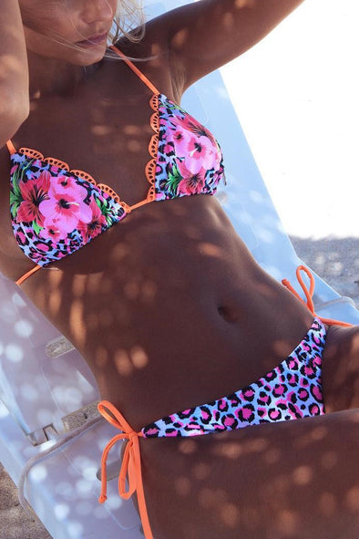 E&C Pink Triangle String Halter Floral Leopard Print Sexy Cheeky Bikini Swimsuit