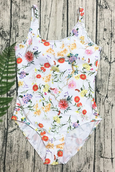 E&C White Floral Print Scoop Neck High Cut Low Back Sexy One Piece Swimsuit