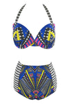 E&C Blue African Print Push Up Halter High Waisted Sexy Two Piece Swimsuit