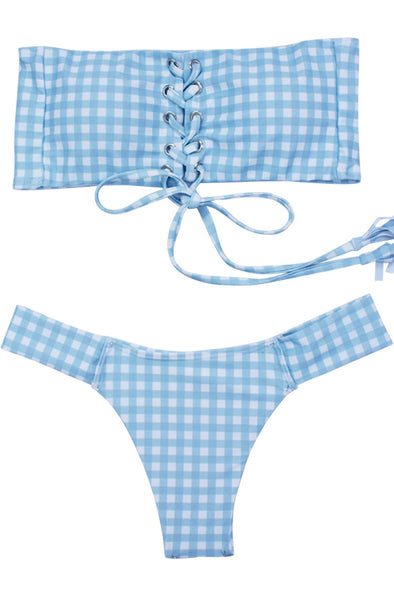 E&C Blue White Gingham Lace Up High Cut Bandeau Cheeky Sexy Bikini Swimsuit