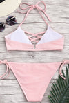 E&C Pink Halter Strappy Caged Ribbed Textured Side Tie Sexy Bikini Swimsuit