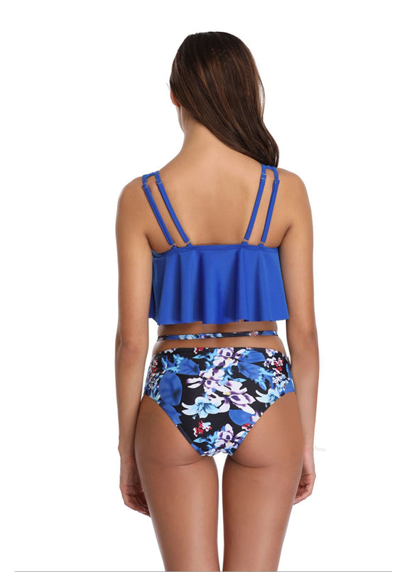 Cute High Waisted Ruffled Two Piece Tankini Swimsuit