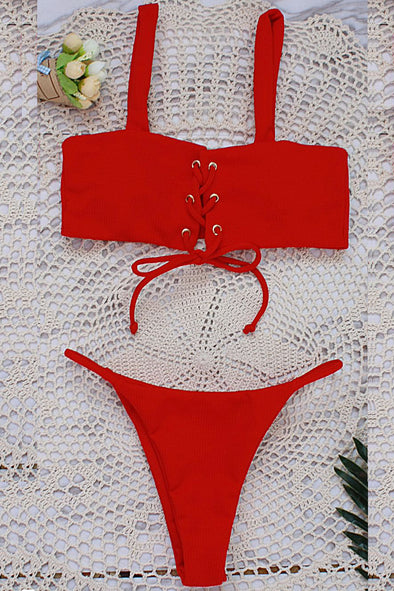 E&C Red Strappy Lace Up High Cut Ribbed Thong Sexy Bikini Swimsuit