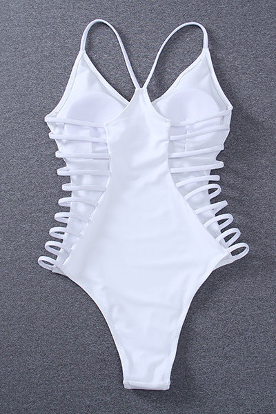 E&C White Strappy Caged High Cut Sexy One Piece Swimsuit