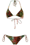 E&C Green Snakeskin Print Halter Strappy Triangle String Bikini Swimsuit