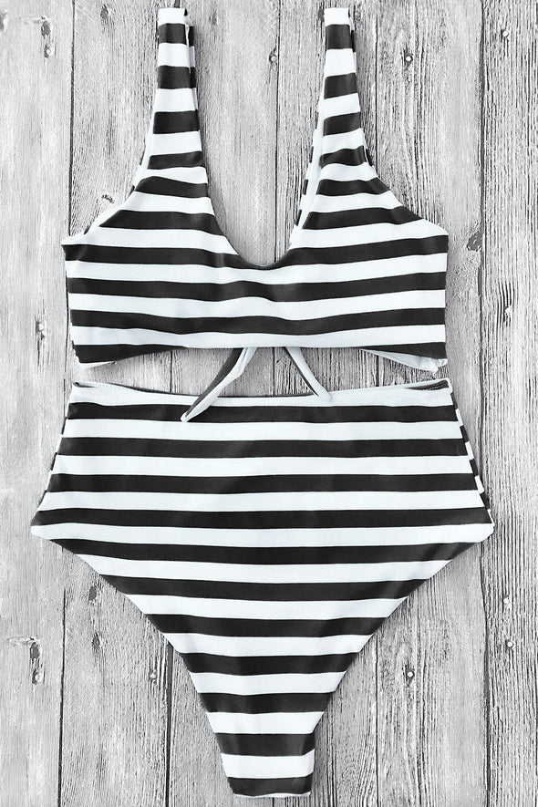 E&C White Black Knotted Stripe High Cut Sexy Bikini Swimsuit