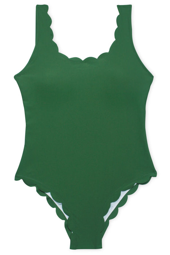 E&C Green Scalloped Low Back Scoop Neck Cute One Piece Swimsuit