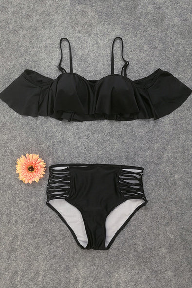 E&C Black Ruffled Strappy High Waisted Two Piece Sexy Swimsuit