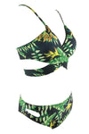 E&C Green Tropical Leaf Print Strappy Wrap Around Bikini Set