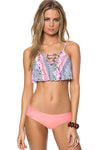 E&C Pink Tribal Print Strappy Lace Up Ruffle Sexy Bikini Swimsuit
