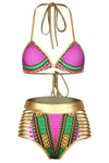 E&C Fuchsia African Tribal Print Halter High Waisted Sexy Bikini Swimsuit