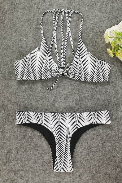 E&C White Black Print Strappy Caged Front Tie Cheeky Sexy Bikini Swimsuit