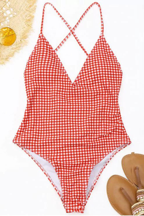 E&C Red White Gingham Print High Cut Scrunch Butt Sexy One Piece Swimsuit