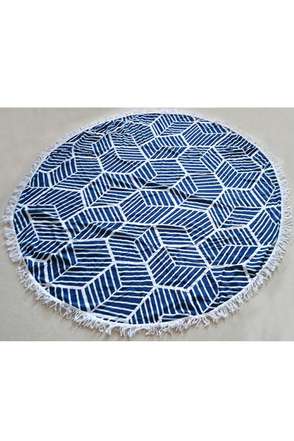 E&C Blue White Striped Geometric Print Fringed Boho Mandala Roundie Beach Throw