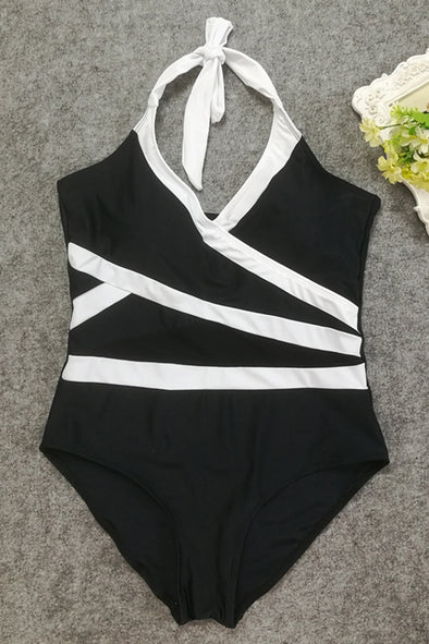E&C Black White Two Tone Contrast Halter Mesh Tied Backless Sexy One Piece Swimsuit