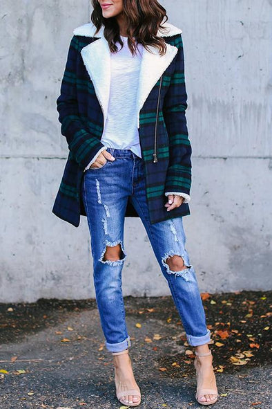 Classic Plaid Fabric Coat
