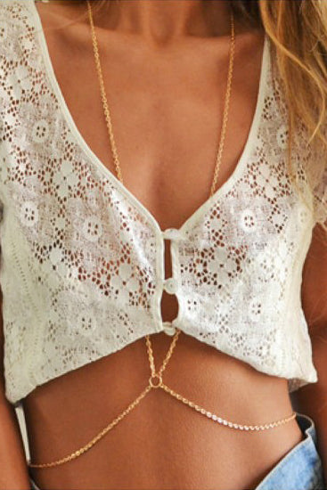 E&C Gold O Ring Detail Sexy Belly Body Chain Necklace