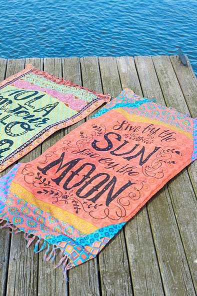 E&C Orange Slogan Tribal Print Fringed Boho Rectangle Beach Throw