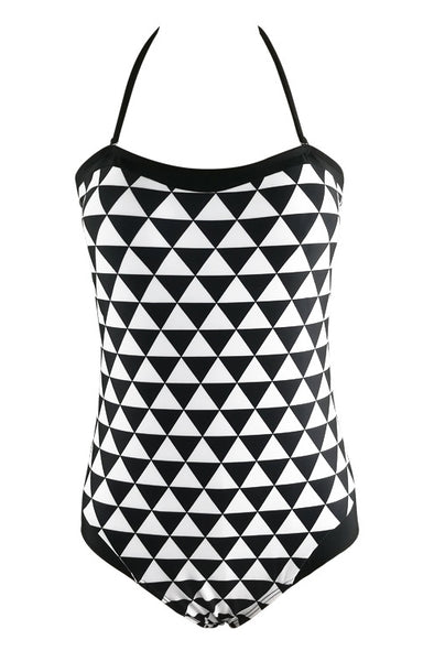E&C Black White Halter Geometric Print Backless Modest One Piece Swimsuit