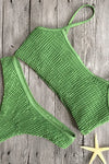 E&C Army Green Smocked High Cut Cheeky Thong Sexy Bikini Bathing Suit