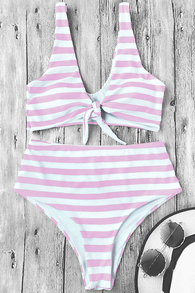 E&C Pink Knotted Stripe High Cut Sexy Bikini Swimsuit