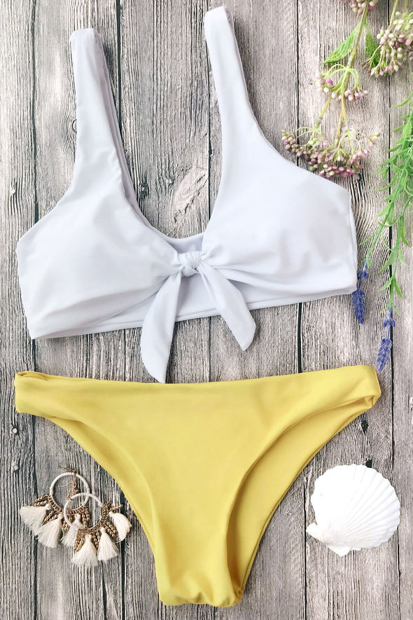 E&C White Yellow Scoop Knotted Cheeky Sexy Bikini Swimsuit