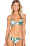 E&C Green Palm Leaf Print Strappy Sexy Two Piece bikini Swimsuit