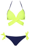 E&C Neon Yellow Wrap Around Side Tie Halter Sexy Bikini Bathing Suit