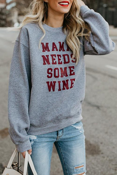 Round Neck Long Sleeve Letter Hoodie
