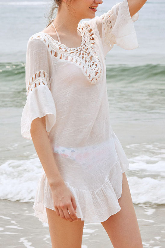 71007addd3 E&C White Crochet Backless Tassel Tied Pom Pom Ruffle Sexy Beach Cover Up  Tunic
