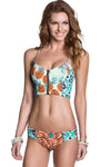 E&C Light Green Pineapple Print Lace Up Zipper Up Sexy Two Piece Swimsuit