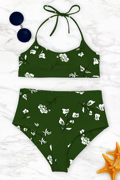 E&C Green Slimming Control Floral Print Halter High Waisted Sexy Bikini Swimsuit