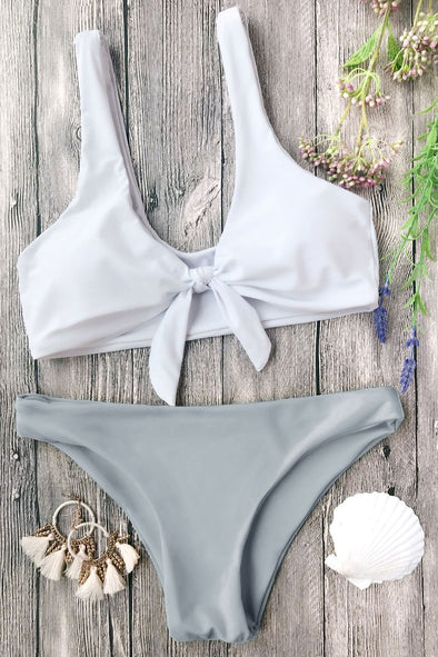E&C White Gray Scoop Knotted Cheeky Sexy Bikini Swimsuit