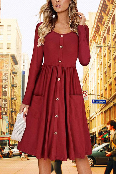 Button Pocket Solid Color Dress