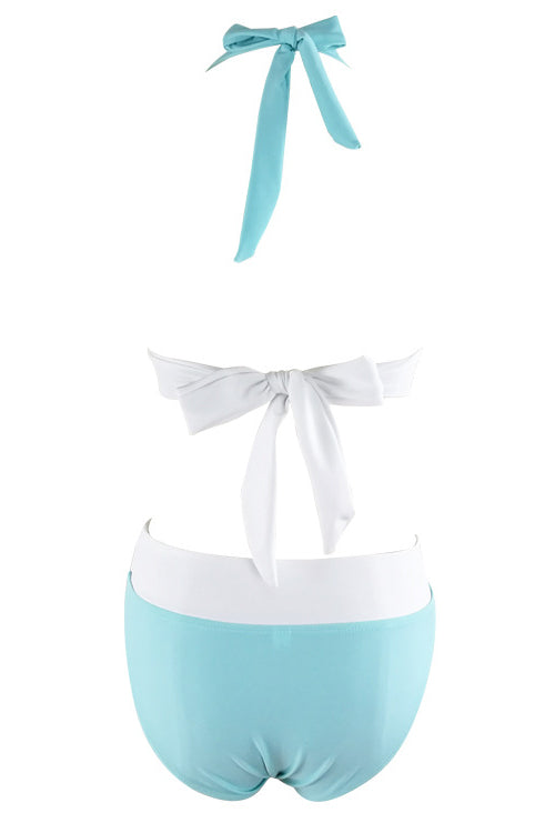 E&C Light Blue Halter O Ring Padded High Waisted Sexy Bikini Bathing Suit