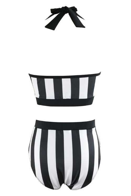 E&C White Black Halter Stripe High Waisted Retro Bikini Two Piece Swimsuit