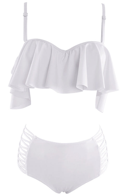 E&C White Ruffled Strappy High Waisted Sexy Two Piece Swimsuit