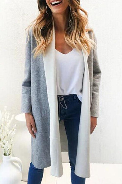 Casual Color Blocking Grey  Suiting Trench Coat