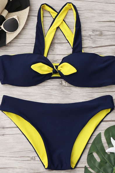E&C Dark Blue Front Tie Knotted Sexy Bikini Swimsuit