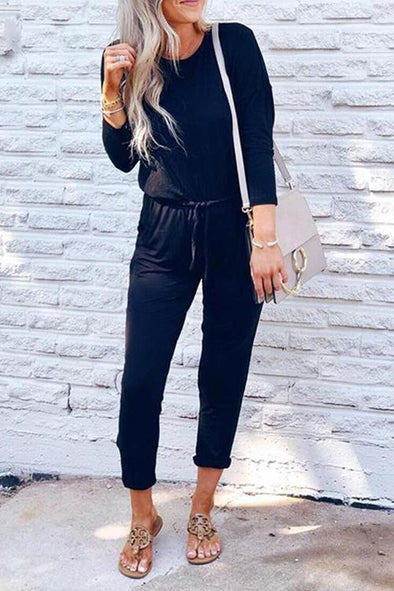 Casual Elegant Lace-up Jumpsuit