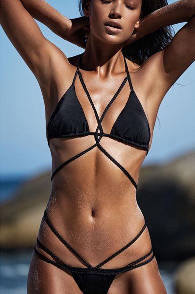 E&C Black Halter Triangle Braided Strappy Cheeky Sexy Bikini Swimsuit