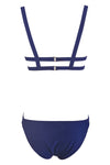 E&C Dark Blue Strappy Bandage Scoop Sexy Bikini Two Piece Swimsuit
