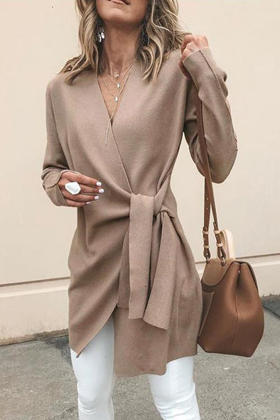 V Neck Belt Plain Cardigan