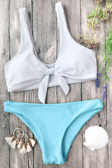 E&C White Blue Scoop Knotted Cheeky Sexy Bikini Swimsuit