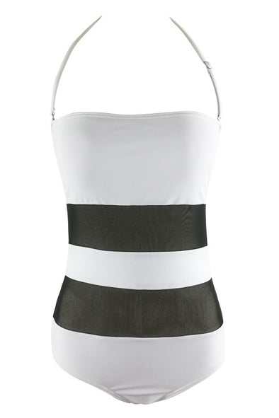 E&C Black White Halter Two Tone Mesh Backless Sexy One Piece Swimsuit