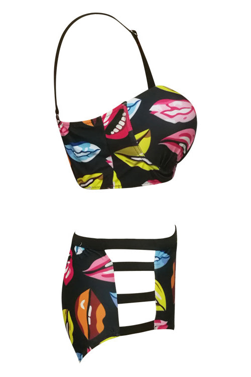 E&C Black Lip Print Push Up High Waisted Strappy Cutout Sexy Bikini Swimsuit