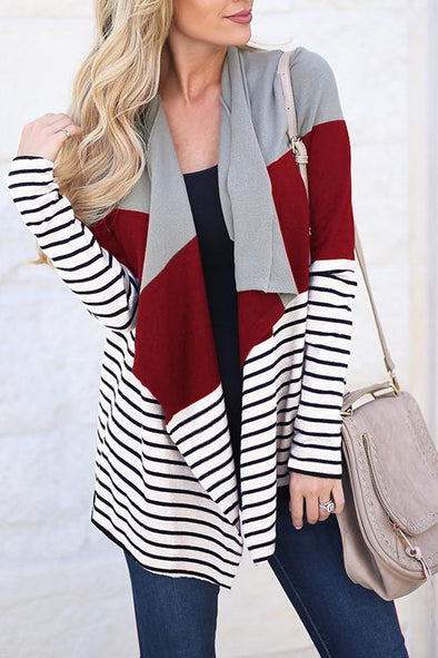Casual Stitching Striped Cardigan