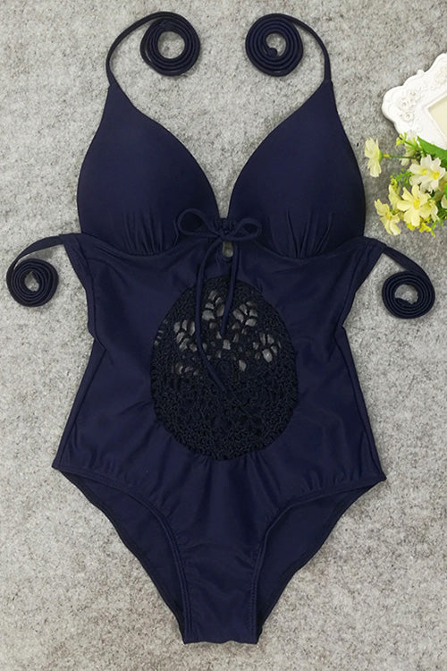 E&C Dark Blue Halter Deep V Neck Crochet Center Piece Strappy Sexy One Piece Swimsuit