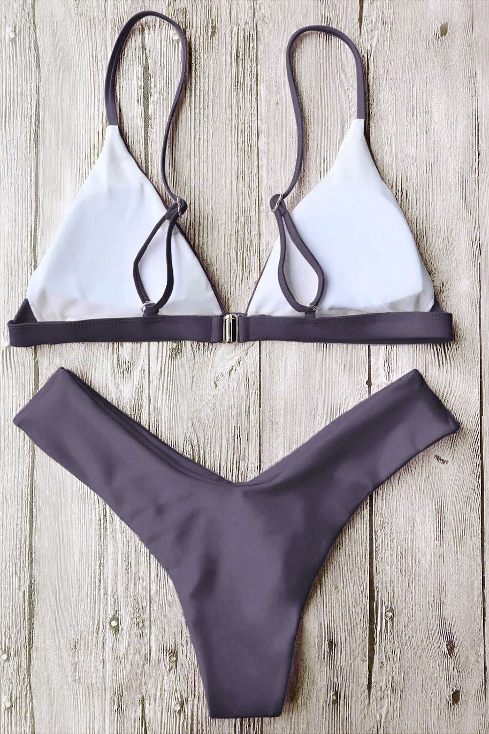 051a064d53 E&C Grey Triangle Spaghetti Straps Thong High Cut Sexy Bikini Set ...